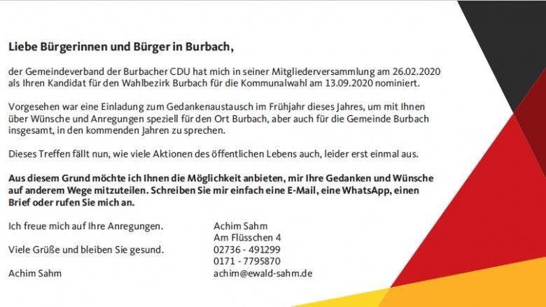 IHR DORF.IHRE WÜNSCHE: Kandidatenvorstellung Burbach – Achim Sahm